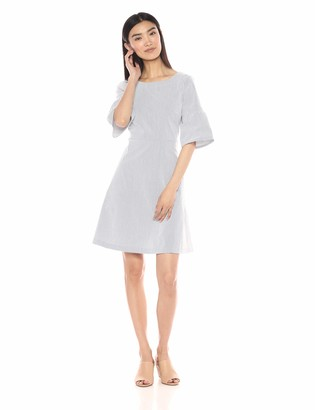 Lark & Ro Women's Stretch Half Sleeve Dress with Fit and Flare Skirt