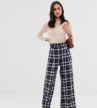 Miss Selfridge wide leg pants with belt in blue check