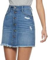Mudd Juniors' Button-Front Deconstructed Denim Skirt