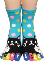 Urban CoCo Women Funky Wave Point Flower Lucky Cat Toes Socks (Pink)