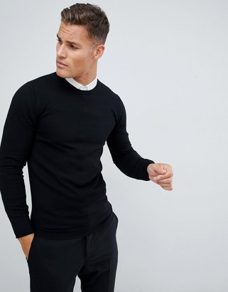 Asos DESIGN muscle fit merino wool sweater in black