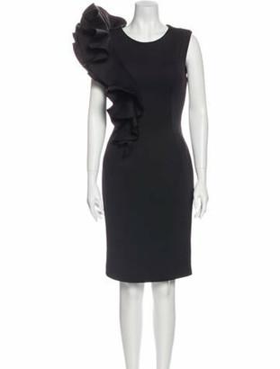 Jovani Scoop Neck Knee-Length Dress Black