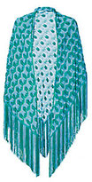 Missoni Metallic Turquoise Triangle Fringe Shawl