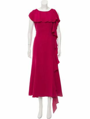 Prabal Gurung Ruffle- Accented Evening Dress Pink