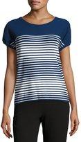 Giorgio Armani Short-Sleeve Striped Knit Top, Zephyr Blue