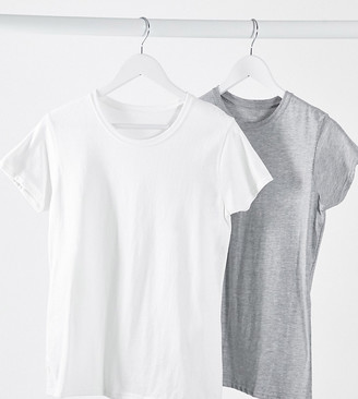 Daisy Street 2 pack crew neck t-shirt in gray & white