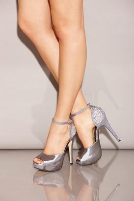 Little Mistress Footwear Silver Diamante Peep Toe Strap Heels
