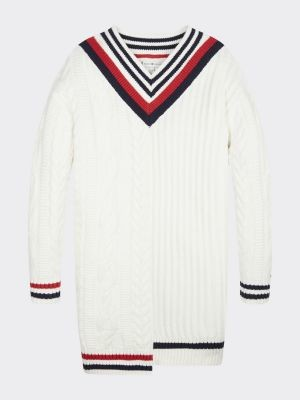 Tommy Hilfiger Cable Knit V-Neck Jumper Dress
