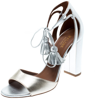 Malone Souliers Metallic Silver/Gold Leather Gladys Ankle Tassel Wrap Open Toe Sandals Size 37