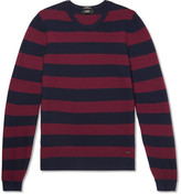 HUGO BOSS Striped Waffle-knit Virgin Wool Sweater - Navy
