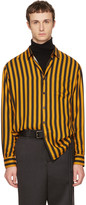 Ami Alexandre Mattiussi Yellow and Black Large Candy Striped Shirt