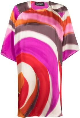 Gianluca Capannolo Painterly-Print Short-Sleeve Dress