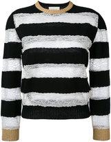 Gucci lace insert striped jumper - women - Polyamide/Viscose/Wool - S