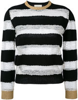 Gucci lace insert striped jumper