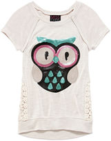 Miss Chievous Miss Chevious Short-Sleeve Crochet-Side Graphic Tee - Girls 7-16