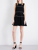 Sandro Pearlescent-trim fit-and-flare dress
