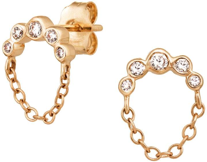 Celine Daoust Diamond Moon and Chain Stud Earrings