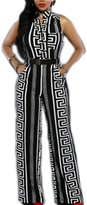 Moonpin Women V Neck Belted Sleeveless Wide Leg Jumpsuits Overalls Rompers XXL