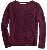 Brooks Brothers Merino Wool Cable Crewneck Sweater