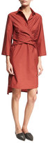 Brunello Cucinelli Crinkled Wrap-Front Shirtdress, Red