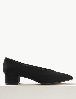 M&S CollectionMarks and Spencer Pointed Toe Block Heel Court Shoes