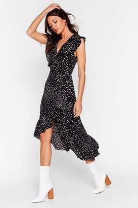 Nasty Gal Womens Spot V Neck Wrap Midi Dress - Black