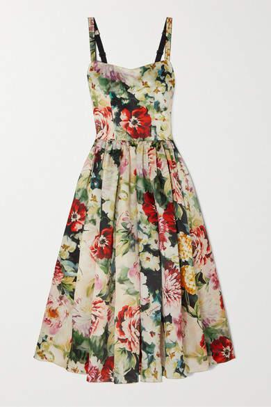 Dolce & Gabbana Floral-print Duchesse Silk-satin Midi Dress - Ivory