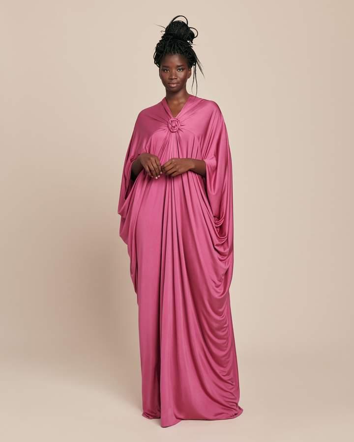 Reem Acra Draped Silk Jersey Kaftan