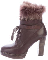 Brunello Cucinelli Fur-Trimmed Lace-Up Ankle Boots