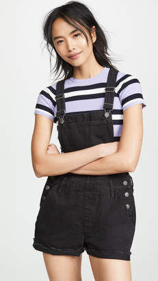 Madewell Adirondack Short Overalls in Washed Black