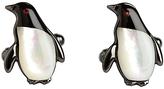 Simon Carter Swarovski Crystal Darwin Penguin Cufflinks, Black/mother Of Pearl