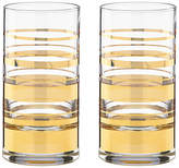 Kate Spade Set of 2 Hampton Street Highball Glasses - Clear/Gold