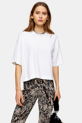 Topshop Womens White Boxy Panel T-Shirt - White