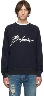 Balmain Blue Denim Sweatshirt