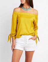 Charlotte Russe Off-The-Shoulder Tie Sleeve Top