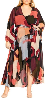 City Chic Abstract Print Long Sleeve Wrap Dress