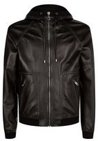 Dolce & Gabbana Contrast Stitching Hooded Leather Jacket