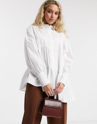 Topshop tiered poplin shirt in white