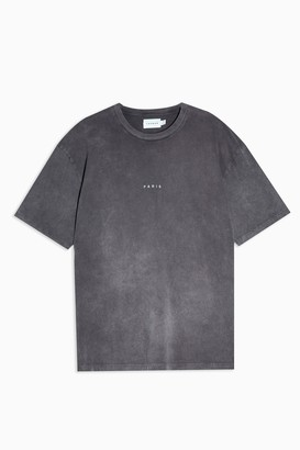 Topman Womens Washed Black Paris Puff Print T-Shirt - Multi