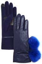 Echo Leather Tech Gloves with Rabbit Fur Pom-Pom