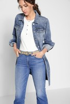 7 For All Mankind Long Trucker Jacket In Light Brighton Blue