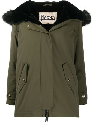Herno Green Parka Coat With Faux Fur Hood