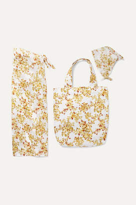 Faithfull The Brand Floral-print Cotton Pareo, Tote And Headscarf Set - White