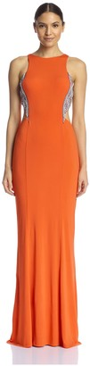 Terani Couture Women's Cutout Gown with Embellished Sides