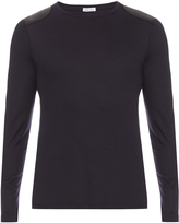 Tomas Maier Faux-leather patch cotton-jersey top