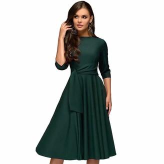 Xiguak Womens 3/4 Sleeve Dress Summer Casual O-Neck Dress Elegant A Line Swing Slim Office Work Business Party Dress Green