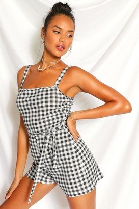 boohoo Gingham Square Neck Playsuit
