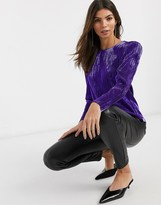 And other stories & plisse puff sleeve top in purple