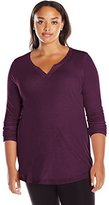 Just My Size Women's Plus Size Split Neck Tunic