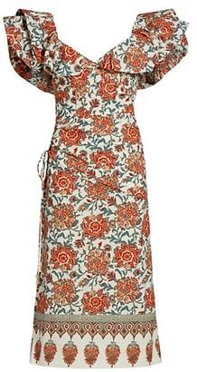 Johanna Ortiz Art De Vivre Puff-Sleeve Midi Dress